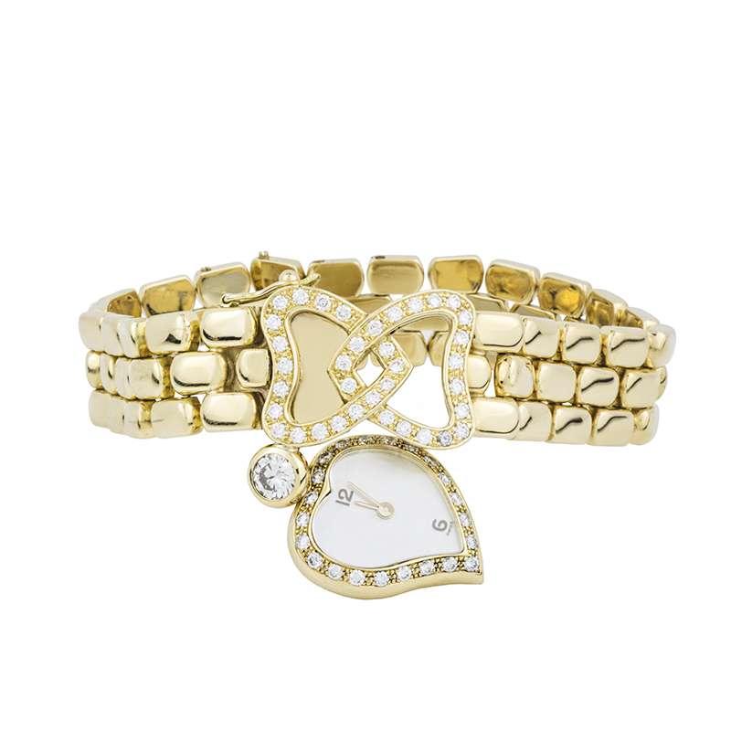 18k Yellow Gold Diamond Set Bracelet Watch
